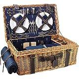 Les Jardins de la Comtesse - Cesta de picnic para 4 personas 'Campos Elíseos', azul, con bolsillos aislantes, tabla de cortar y mantel, tamaño: 60 x 38 x 23 cm