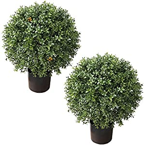"""24""""T Boxwood Bushes Artificial Topiary Trees Outdoor 19""""Round with Butterfly (2Pack)"""