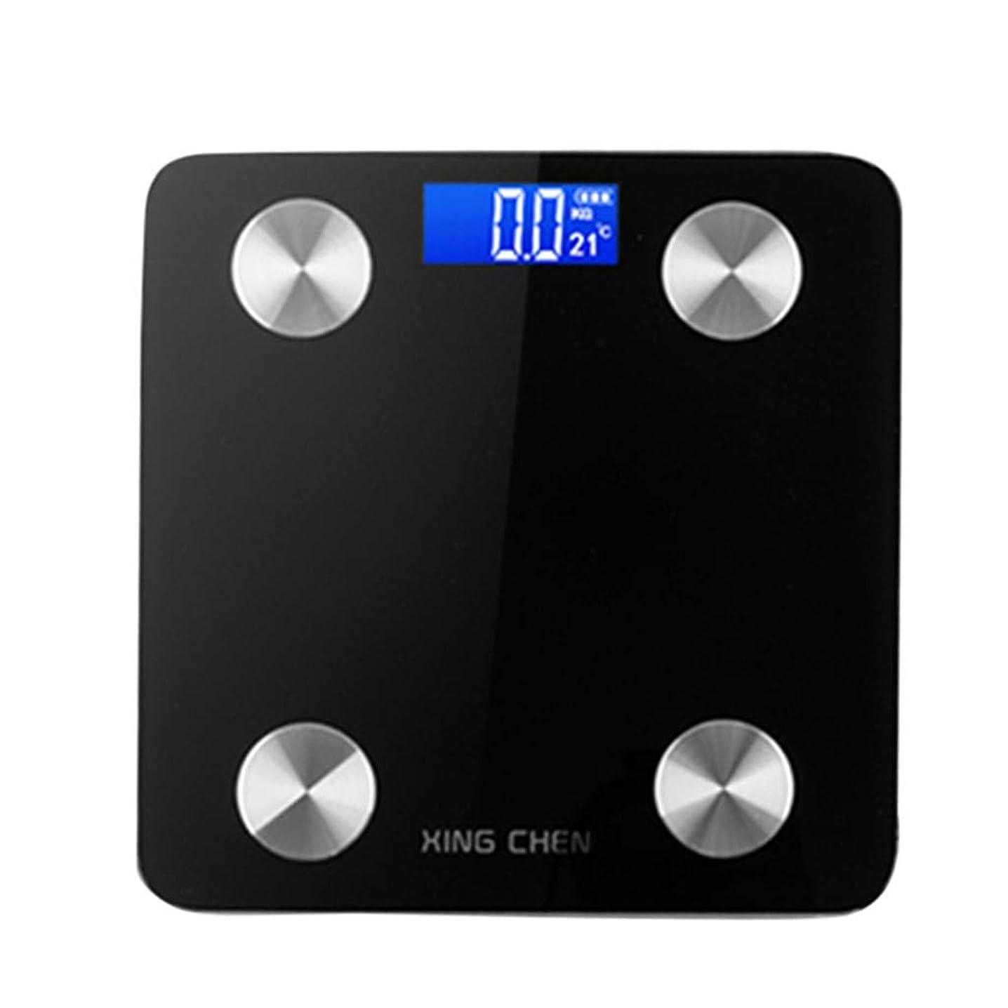 おなかがすいたアフリカ人疼痛体重計 体脂肪測定装置 良質のABS材料 [スマートBluetoothスケール] 体重分析/BMI/体脂肪%/水分%/骨格筋/除脂肪体重/骨量/タンパ 質/基礎代謝と内臓脂肪 液晶ディスプレイがわかりやすい 4個の高精度センサーと2個のバッテリーを装備 Bluetooth/Android/IOSアプリケーションのヘルス管理のサポート (ブラック)