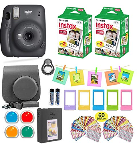 Fujifilm Instax Mini 11 Instant Camera Charcoal Gray + Shutter Carrying Case + Fuji Instax Film Value Pack (40 Sheets) + Shutter Accessories Bundle, Color Filters, Photo Album, Assorted Frames