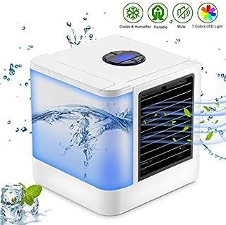 Mini Aire Acondicionado Ventiladores de Aire Ventiladores USB Refrigerador de Aire portátil Conditiioner Mesa Mini Ventilador para Oficina Hogar 7 Luz de Color