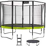 Kangui - Trampoline de Jardin Rond 430 cm + Filet de sécurité + échelle + bâche de Protection PUNCHI Vert 430