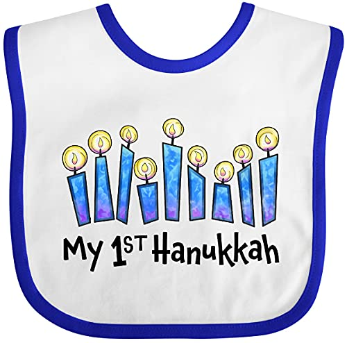 Inktastic My First Hanukkah with Lit Candles Baby Bib White and Royal 33504