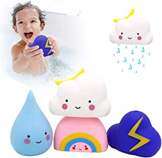 Baby Bath Toy Soft Watering Bath Toys for Toddlers, Swimming Pool Toys Gift Set, Baby Hair Wash Tool, Pack of 4 (Rain, Clo...