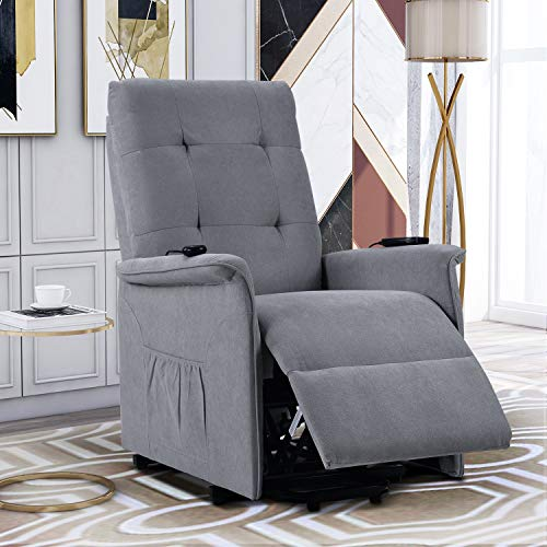 Power Lift Recliner with Massage & Vibration Electric Recliner Chair Massage Sofa Microfiber Fabric Living Room Chair with Side Pockets and Remote Control