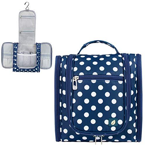 PAVILIA Hanging Travel Toiletry Bag Women Men | Hygiene Bag, Bathroom Toiletry Organizer Kit for Cosmetics, Makeup, Toiletries Accessories (Navy Polka Dot)
