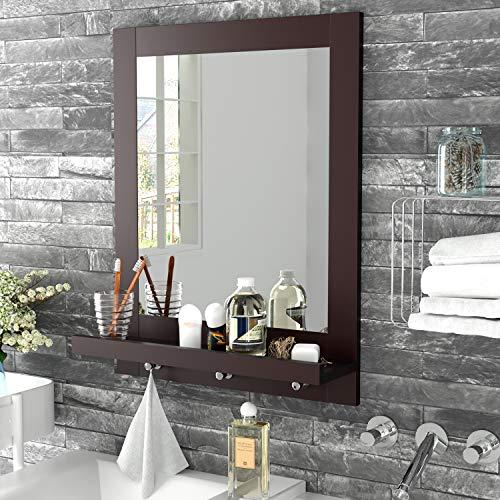 Homfa Bathroom Wall Mirror Vanity Mirror Makeup Mirror Framed Mirror with Shelf and 3 Hanging Hooks Multipurpose for Home, Dark Brown