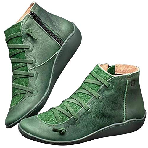 Aemiy Botines de Piel Otoño Vintage Cordones Mujer Zapatos Cómodo Plano Botas de Tacón Cremallera Bota Corta - Verde, 38