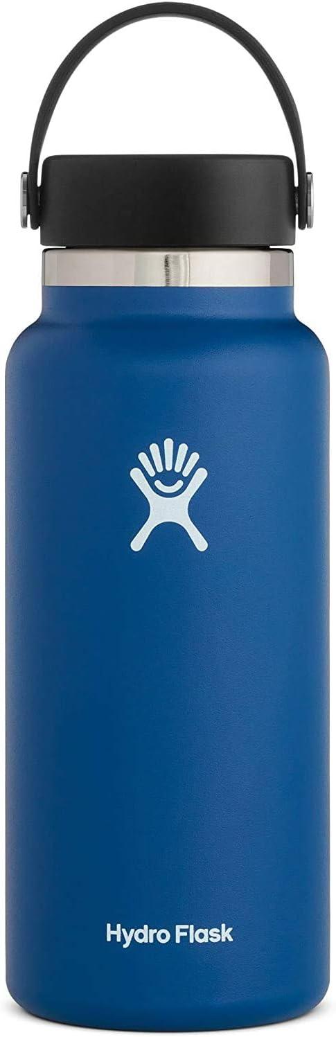 Hydro Flask Botella de agua isotérmica de 946ml (32 oz), acero inoxidable y doble pared al vacío, boca ancha con tapón Flex hermético, Cobalt