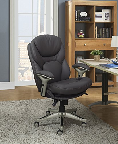 Serta Works Executive Office Chair with Back in Motion Technology, Opportunity Gray Bonded Leather Chairs Desk Dining Features Home Kitchen Office