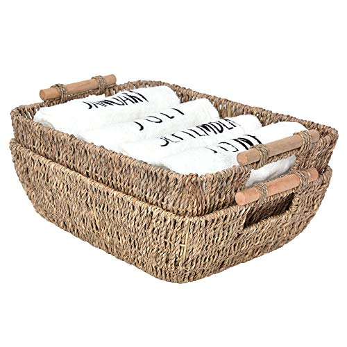 """StorageWorks Hand-Woven Wicker Baskets, Seagrass Decorative Baskets with Wooden Handles, Large, 14.6"""" x 10.6"""" x 5"""", 2-Pack"""