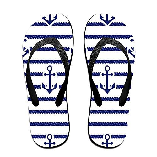 Sandales unisexes minces à bascule,Ensemble De Mer Et Ancre Nautique, Tapis de yoga Flip Flops plage confortable bracelet en cuir avec légère en EVA Sole Taille L