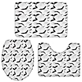 Zadaling 3-Piece Bath Rug Mat Sets,Black and White Bat Halloween Absorbent Non-Slip Bathroom Doormat Runner Rugs, Toilet Seat Cover, U-Shaped Toilet Floor Mat,Large