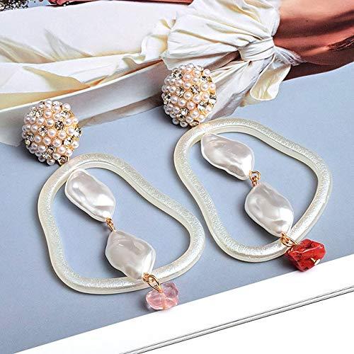 DJMJHG Pendientes Blancos geométricos Pendientes Colgantes Hechos a Mano Accesorios de joyería de Tendencia de Moda para Mujeres1