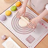 liuliukeji tappetino da forno in silicone, tappetino per pasta antiscivolo con misura, tappetino per pasticceria/torta/pizza/pane per famiglia (rosso, 70x50)
