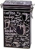 barattoli di latta, rettangolari, da caffè, in stile vintage, con chiusura ermetica, colore bianco e nero, capacità 500 g