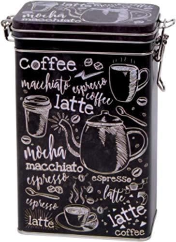 Rechteckige Kaffeedose im Vintage-Stil, schwarz/weiß, Retro-Blechdose für die Küche,hermetisch abgedichtet,500g, Motiv: Kaffee-Begriffe