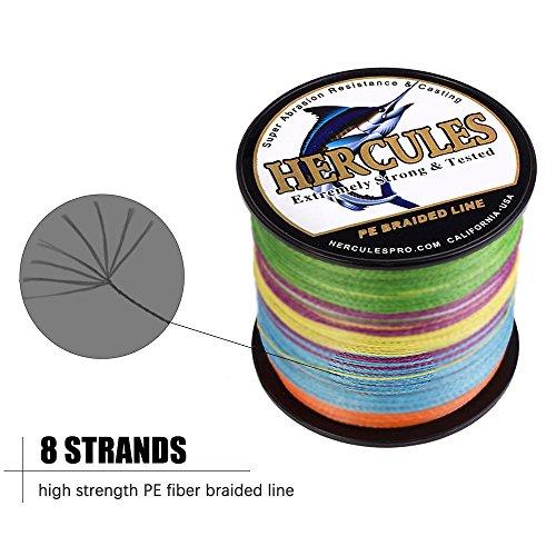 HERCULES Super Cast 1000M 1094 Yards Braided Fishing Line 80 LB Test for Saltwater Freshwater PE Braid Fish Lines Superline 8 Strands - Multi-Color, 80LB (36.3KG), 0.48MM