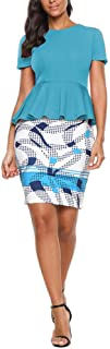 YYLZA Women Two Piece Set Summer Floral Print Round Neck Short Sleeve Tops Pencil Bodycon Skirt Female Office Lady