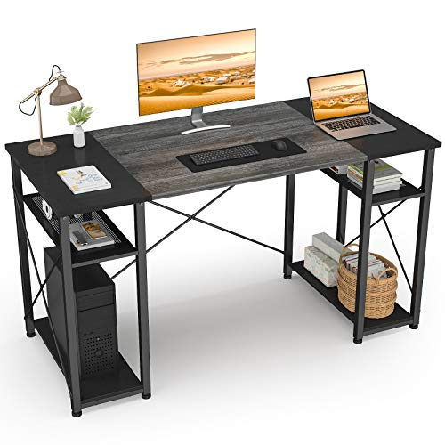 Ecoprsio Computer Desk with Shelves, 47' Home Office Desk with 4 Storage Shelves, Vintage Study Writing Table Sturdy Modern Simple Laptop PC Desk with Splice Board, Oak and Black