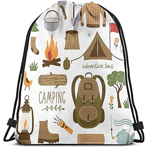 jenny-shop Imprimé Cordon Sacs à Dos Sacs, équipement de Camping Sac de Couchage Bottes feu de Camp Pelle hachette Journal oeuvre Impression