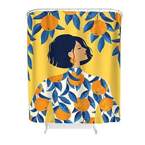 DAMKELLY Store Shower Curtain – Plant Lemon Theme Premium Easy Care Plant Bath Curtains Set with Hooks White 180 x 200 cm