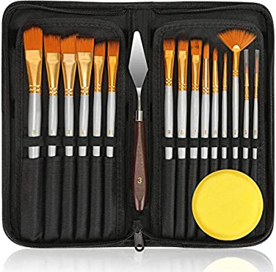 Paint Brushes Set Oil Acrylic Painting Brush Kit Professional with 1 Standing Organizer 1 Mixing Knife 1 Watercolor Sponge for Canvas Painting Artists
