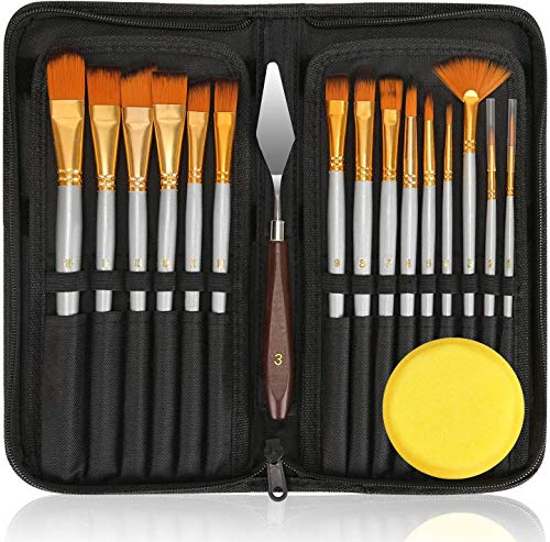 18Pack Oil Paint Brushes Sets Professional Artist Acrylic Brush Kits for Canvas Painting Ceramic - 15 Sizes Brush 1 Standing Organizer 1 Mixing Knife 1 Watercolor Sponge