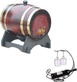 ZHhome Tonneau à vin en Bois 5L Fûts de chêne Casier à vin, Décoration de Bar ou des décorations à la Maison, pour la vini...