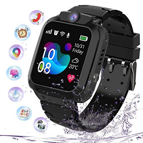 Smartwatch Impermeabile per Ragazzi Ragazze, Orologio Intelligente Telefono con LBS Locator Chat SOS Vocale Camera Math Game Anti-lost Bambini Bracciale Regalo Compleanno per iOS Android,LBS Nero