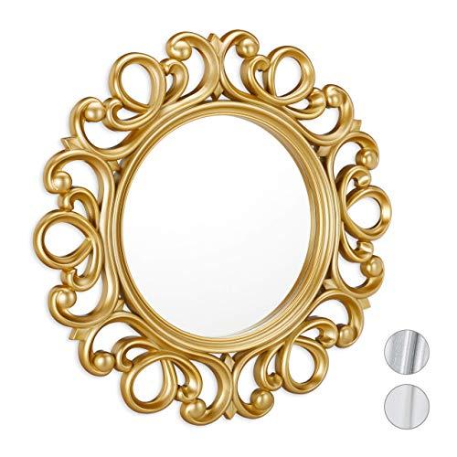 Relaxdays Espejo Redondo de Pared, Decoración de Pasillo o salón, con Marco, ∅ 50 cm, Dorado