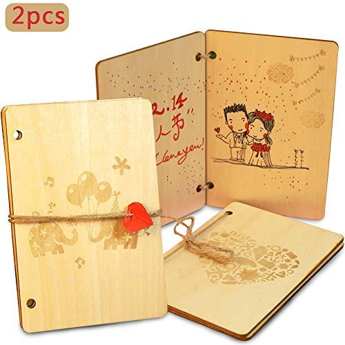 BETOY 2 pcs Tarjeta de felicitación de madera,Tarjeta de felicitación amorosa de madera de nogal hecha mano–Tarjeta de amor de aniversario,La mejor idea regalo cumpleaños,San Valentín y aniversarios
