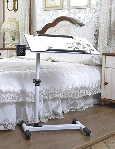 Lazy Bed Laptop Table Table Pliante Mobile Pliable pivotant Table de Chevet réglable en Hauteur en Noir et Blanc (Couleur : Blanc, Taille : L*W*H: 60 * 40*(70-100) cm)