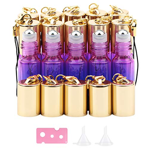 Kesell 15pcs 5ml Glass Roller Bottles Roll on Bottle Stainless Ball Gradient Color for Essential Oils, Aromatherapy Blends, Perfumes, Lip Balms, with 2 Funnels and 1 bottle opener