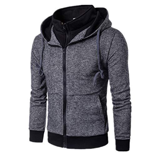 NLZQ Herren Jacke Outdoor Freizeitjacke Full-Zip Hooded Fleece Sweatshirt Herbst und Winter neu Einfach und elegant Warm halten Mit Taschen Schlank Sweatshirt 2XL