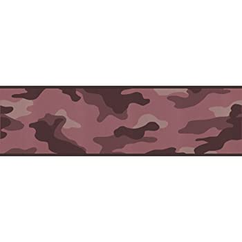 Black York Wallcoverings BP8100BD Mossy Oak Camo Border Pink Browns