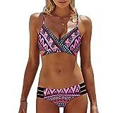 Andouy Damen Padded Push Up Bikini Set Halter Racerback  Badeanzüge Zweiteilige Badeanzug Badebekleidung(XL.Rosa)