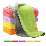 5 Extra Thick Microfiber Cleaning Cloths with 5 Bright Colors, Super Absorbent Dust Cloths Buffing Cloths with Two Color...