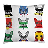 Funda de cojín para cojín de superhéroe, Bulldog, superhéroes, Divertidos Dibujos Animados de Cachorros disfrazados, Perros con Estampado, Funda de Almohada Decorativa Cuadrada, 45x45cm, Verde Blanco