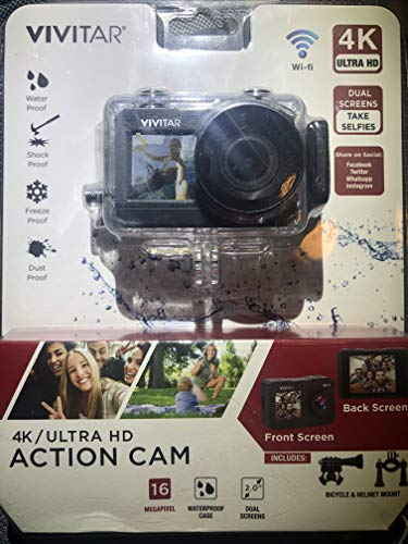 Vivitar DVR922HD-BLK-WM 360 Degree View 4K Action Camera WiFi Mic, Black