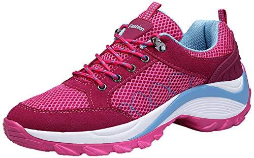 KOUDYEN Damen Turnschuhe Laufschuhe Fitnessschuhe Freizeit Atmungsaktive Mesh Sportschuhe,XZ006-pink-EU39