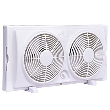 COSTWAY 7  Twin Window Fan Reversible AirFlow Dual Blade Fan 2-Speed Setting w/Manual Control Removable Legs