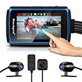 Motorcycle Dash Cam, Blueskysea DV988 1080p 30fps Dual Lens Wide Angle 140 Degree Motorcycle Recording DVR with 4'' IPS Touch Screen Waterproof IP66 32GB Card included Loop Recording with GPS Mode