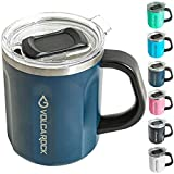 VOLCAROCK 16oz Coffee Mug, Vacuum Insulated Camping Mug with Lid, Double Wall Stainless Steel Travel Tumbler Cup, Coffee Thermos Outdoor, Great for Any Beverage (Navy Blue, 1 Pack)