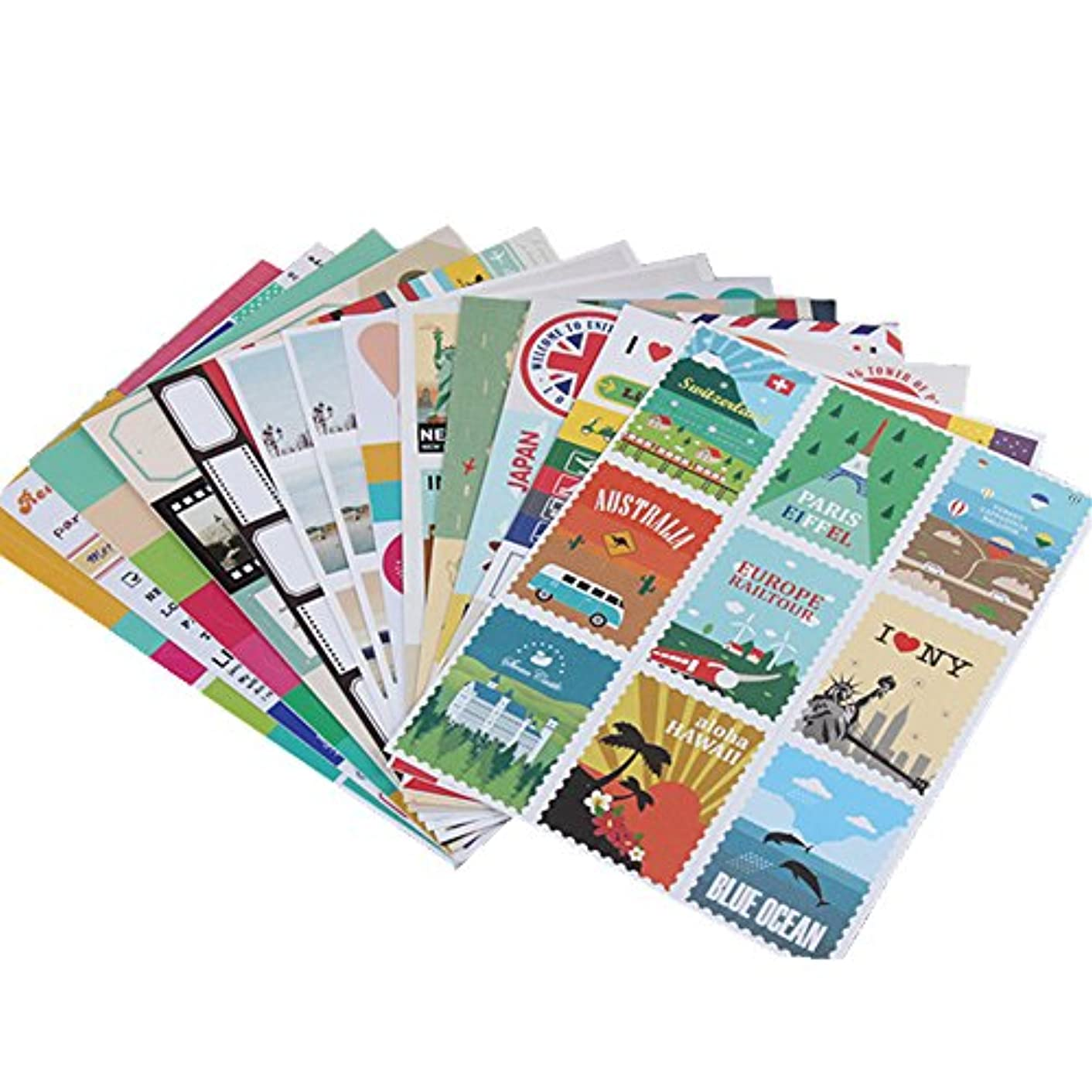 12 Sheets Paper Stamp Sticker DIY Vintage Retro Classic Travel Stickers for Diary Scrapbooking Calendar Planner Stationery Decor School Supplies(8 Sheets Paper Sticker + 4 Sheets PVC Sticker)