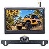 Wireless Backup Camera with 5 Inch Monitor HD 1080P Bluetooth Backup Camera Two Video Channels with Grid Lines DIY Setting