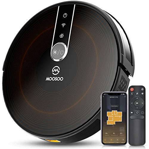 MOOSOO Robot Vacuum - Wi-Fi Connected, 2200Pa Suction, Gyroscope Navigation 2.0, Works with Alexa & Google Assistant, Quiet, Super-Thin Robotic Vacuum Cleaner, Ideal for Pet Hair, Carpets, Hard Floors