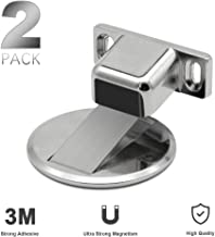 2 Pack Stainless Steel Magnetic Door Stop Catch Holder, Floor Mount Magnets Door Stopper Wall Prop Hold Open Doorstop, Commercial Large Doors Stops, No Drilling Doorstopper for Security (Silvery)