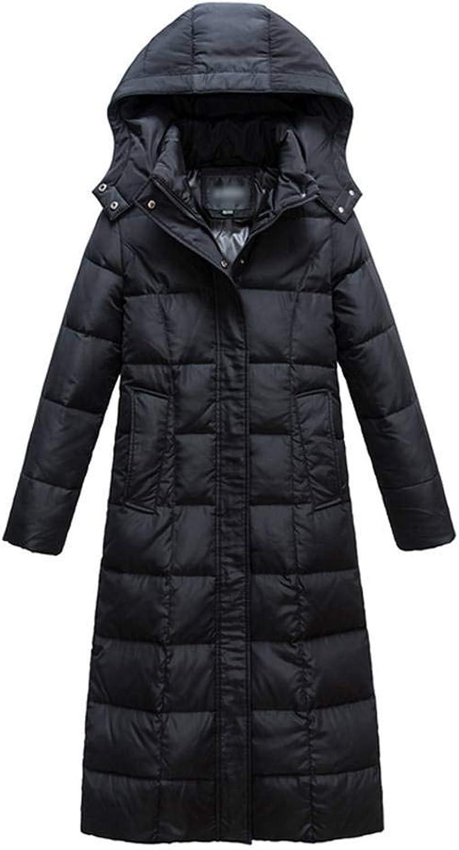 Lukitty Women's Hooded Long Down Coat Slim Maxi Puffer Jacket Winter Outerwear