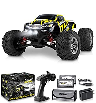 1 16 Scale Large RC Cars 40+ kmh Speed - Boys Remote Control Car 4x4 Off Road Monster Truck Electric - Hobby Grade Waterproof Toys Trucks for Kids and Adults - 2 Batteries + Connector for 40+ Min Play